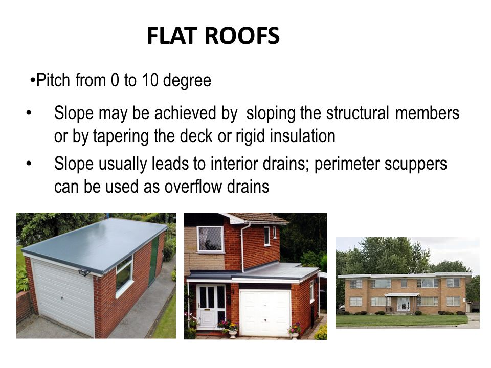 FLAT ROOFS Slope may be achieved by sloping the structural members or by tapering the deck or rigid insulation Slope usually leads to interior drains;