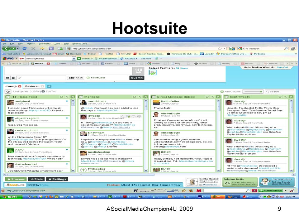 ASocialMediaChampion4U 20099 Hootsuite