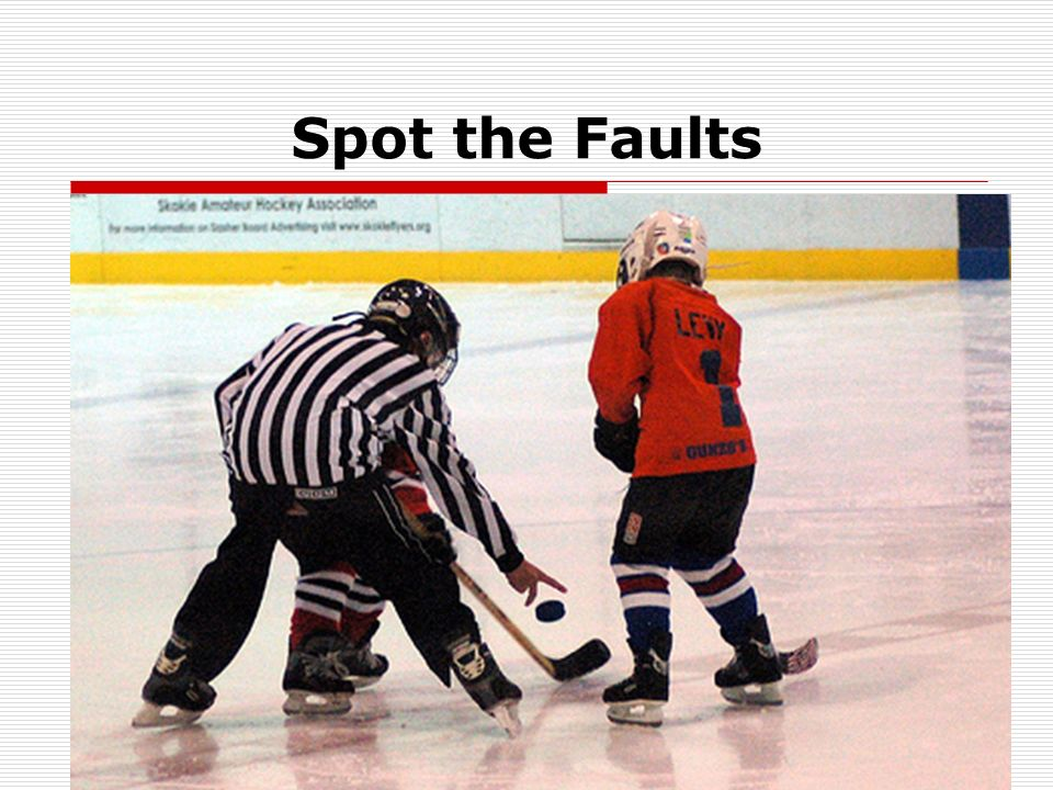 Rule 10.2 (g) – Face-Offs All face-offs in the neutral zone shall be conducted at the designated face-off spots as dictated by reason for the stoppage of play.