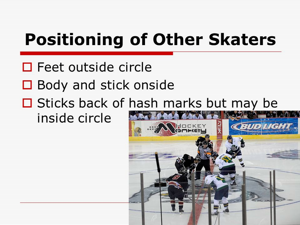 Positioning of Other Skaters Feet outside circle Body and stick onside Sticks back of hash marks but may be inside circle