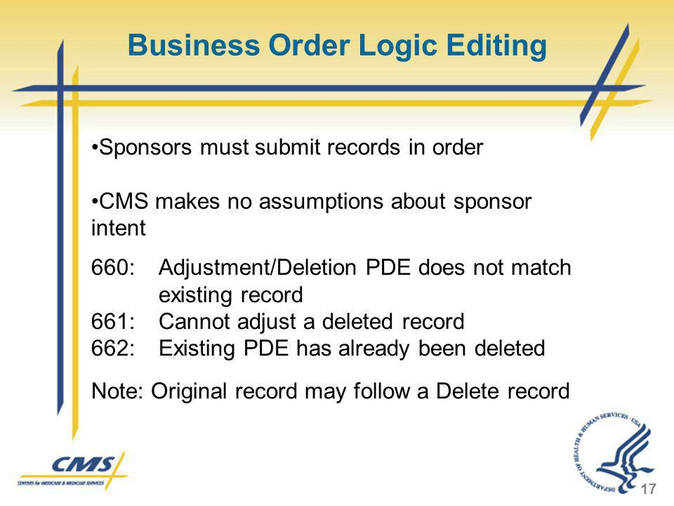 Business Order Logic Editing 17 Sponsors must submit records in order CMS makes no assumptions about sponsor intent 660: Adjustment/Deletion PDE does