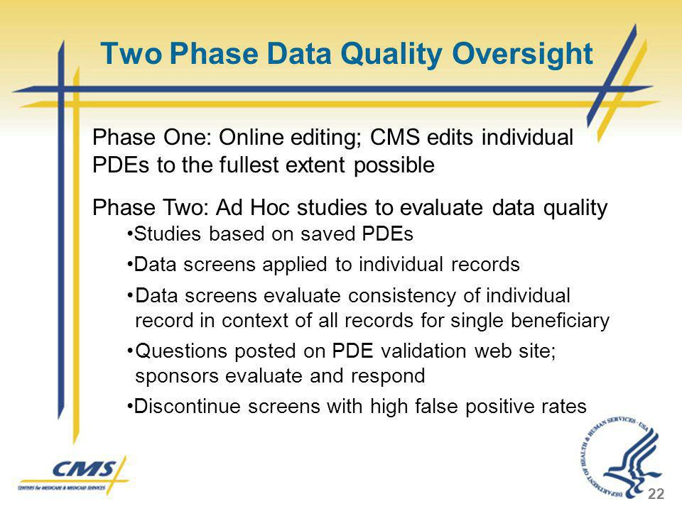 Two Phase Data Quality Oversight 22 Phase One: Online editing; CMS edits individual PDEs to the fullest extent possible Phase Two: Ad Hoc studies to e