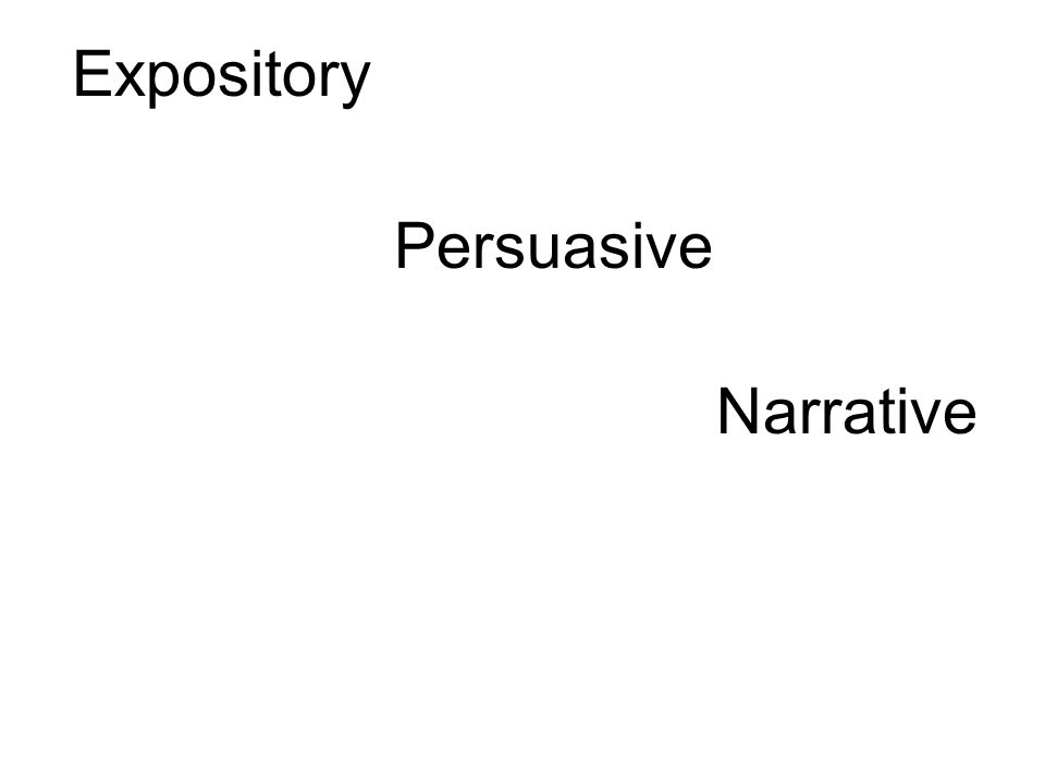 Expository Persuasive Narrative