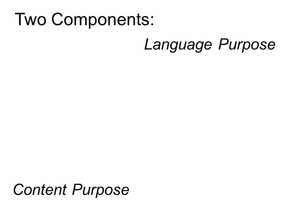Two Components: Content Purpose Language Purpose