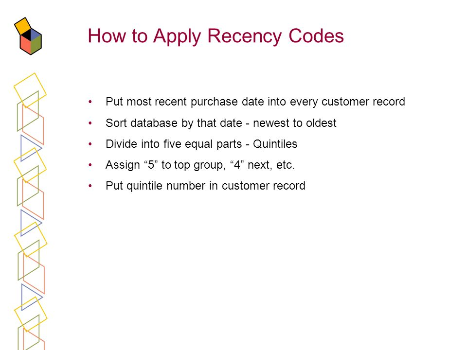 How to Apply Recency Codes Put most recent purchase date into every customer record Sort database by that date - newest to oldest Divide into five equ