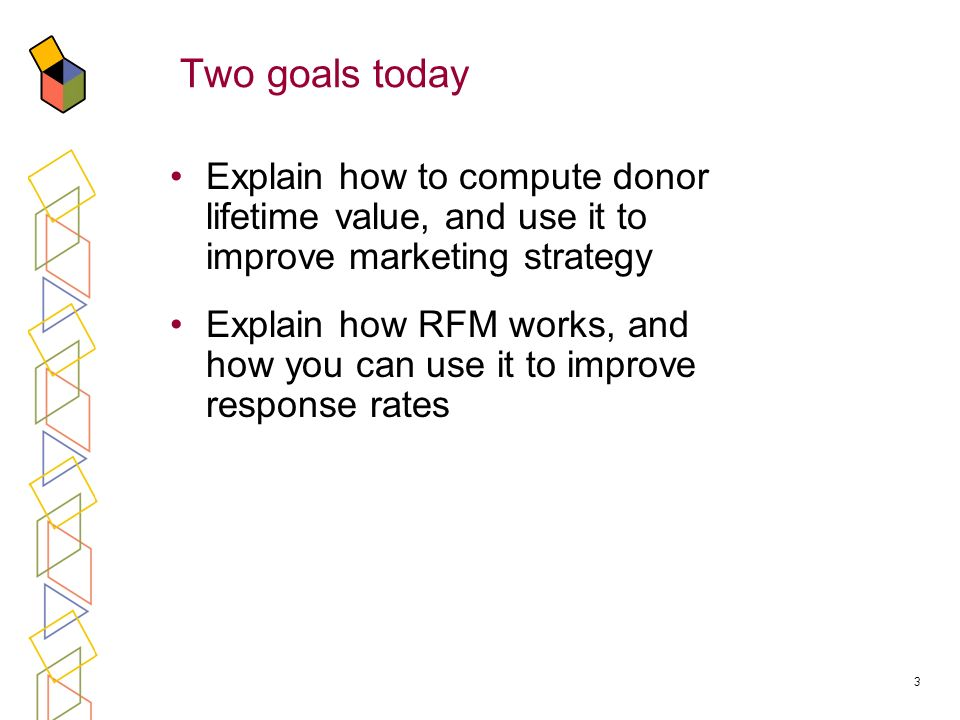 3 Two goals today Explain how to compute donor lifetime value, and use it to improve marketing strategy Explain how RFM works, and how you can use it