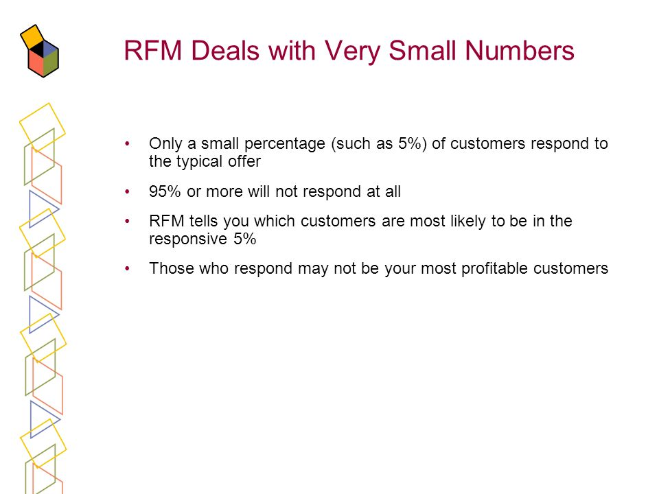RFM Deals with Very Small Numbers Only a small percentage (such as 5%) of customers respond to the typical offer 95% or more will not respond at all R