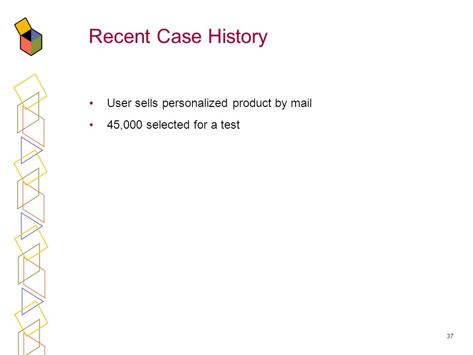 37 Recent Case History User sells personalized product by mail 45,000 selected for a test
