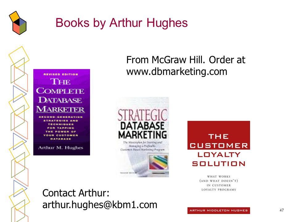 47 Books by Arthur Hughes From McGraw Hill. Order at www.dbmarketing.com Contact Arthur: arthur.hughes@kbm1.com