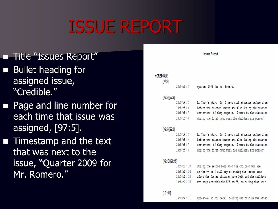 ISSUE REPORT Title Issues Report Title Issues Report Bullet heading for assigned issue, Credible.