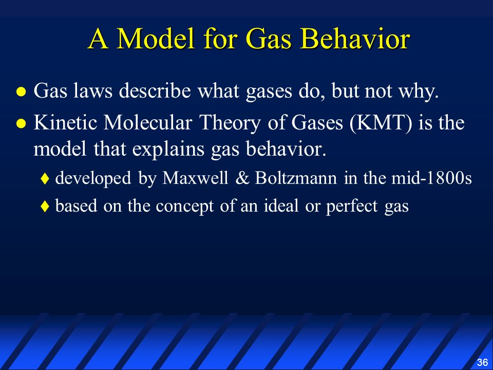 36 A Model for Gas Behavior Gas laws describe what gases do, but not why. Kinetic Molecular Theory of Gases (KMT) is the model that explains gas behav