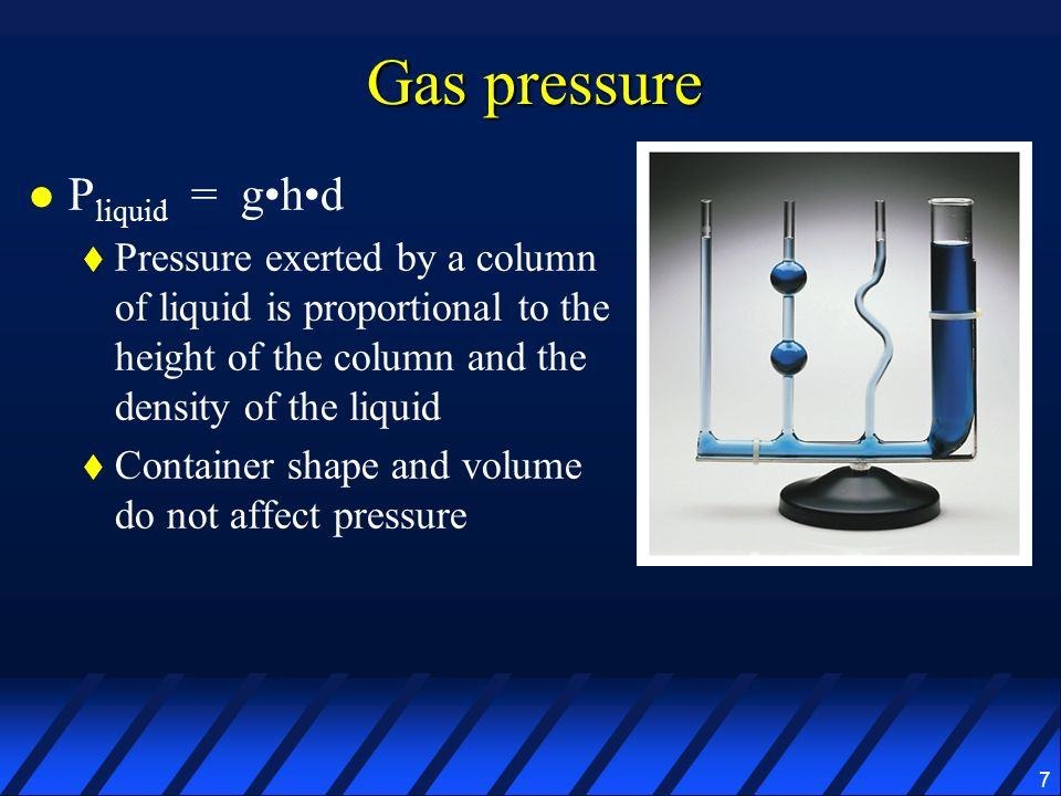 7 Gas pressure P liquid = ghd Pressure exerted by a column of liquid is proportional to the height of the column and the density of the liquid Contain
