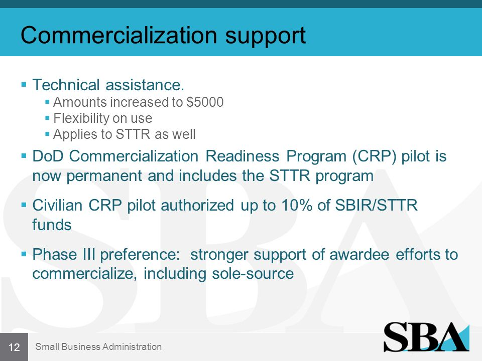 Small Business Administration Commercialization support Technical assistance.