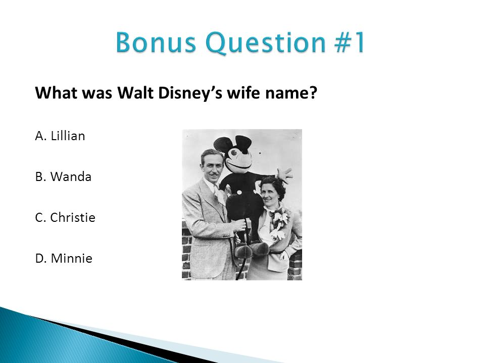 What was Walt Disneys wife name? A. Lillian B. Wanda C. Christie D. Minnie