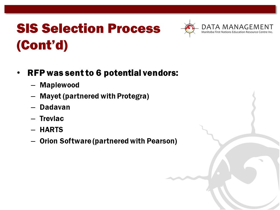 SIS Selection Process (Contd) RFP was sent to 6 potential vendors: – Maplewood – Mayet (partnered with Protegra) – Dadavan – Trevlac – HARTS – Orion S