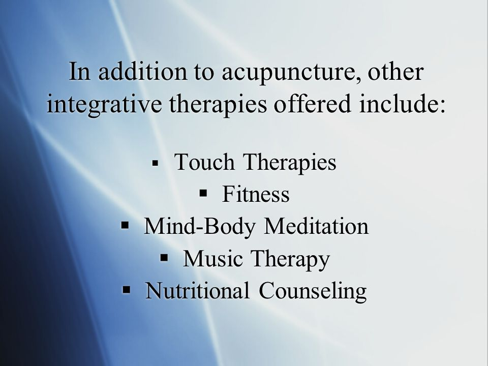 Acupuncture was initiated at Sloan-Kettering in 1999 Approximately 1400 outpatients per month are treated with acupuncture Inpatient services are offe