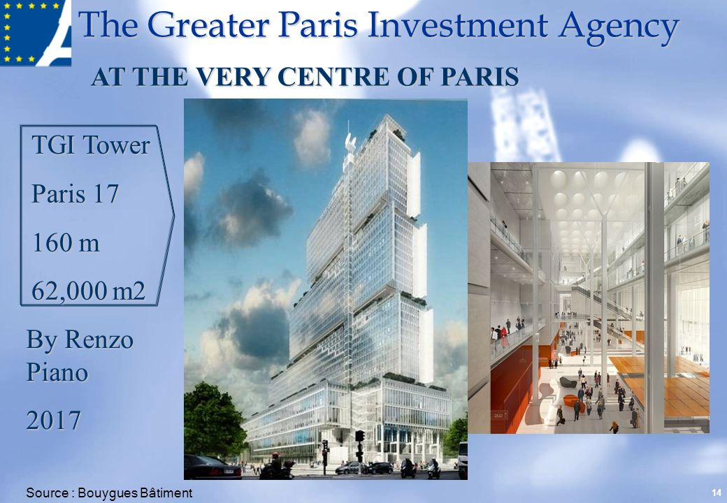 The Greater Paris Investment Agency 14 TGI Tower Paris 17 160 m 62,000 m2 AT THE VERY CENTRE OF PARIS By Renzo Piano 2017 Source : Bouygues Bâtiment