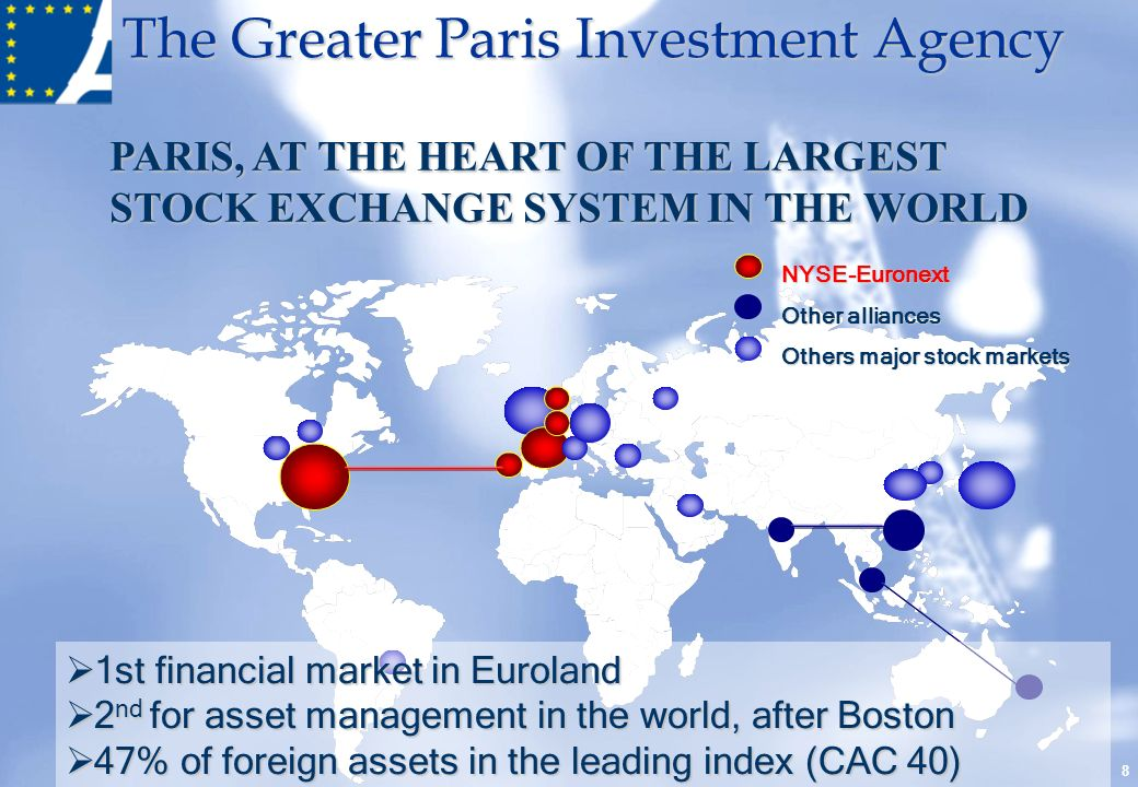 The Greater Paris Investment Agency PARIS, AT THE HEART OF THE LARGEST STOCK EXCHANGE SYSTEM IN THE WORLD 8 NYSE-Euronext Other alliances Others major