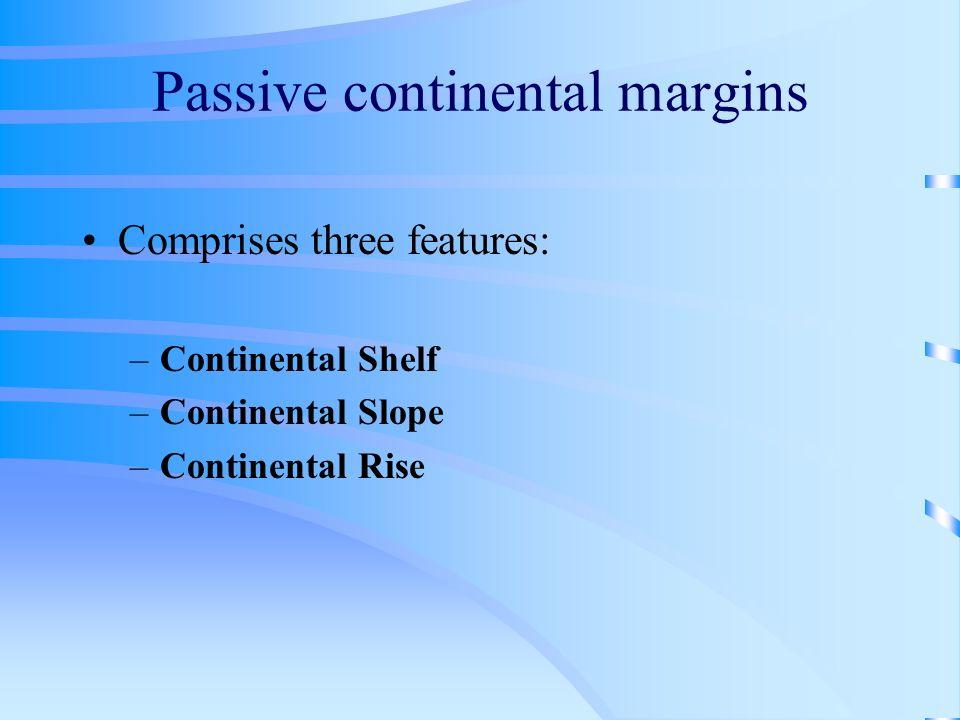 Passive continental margins Comprises three features: –Continental Shelf –Continental Slope –Continental Rise