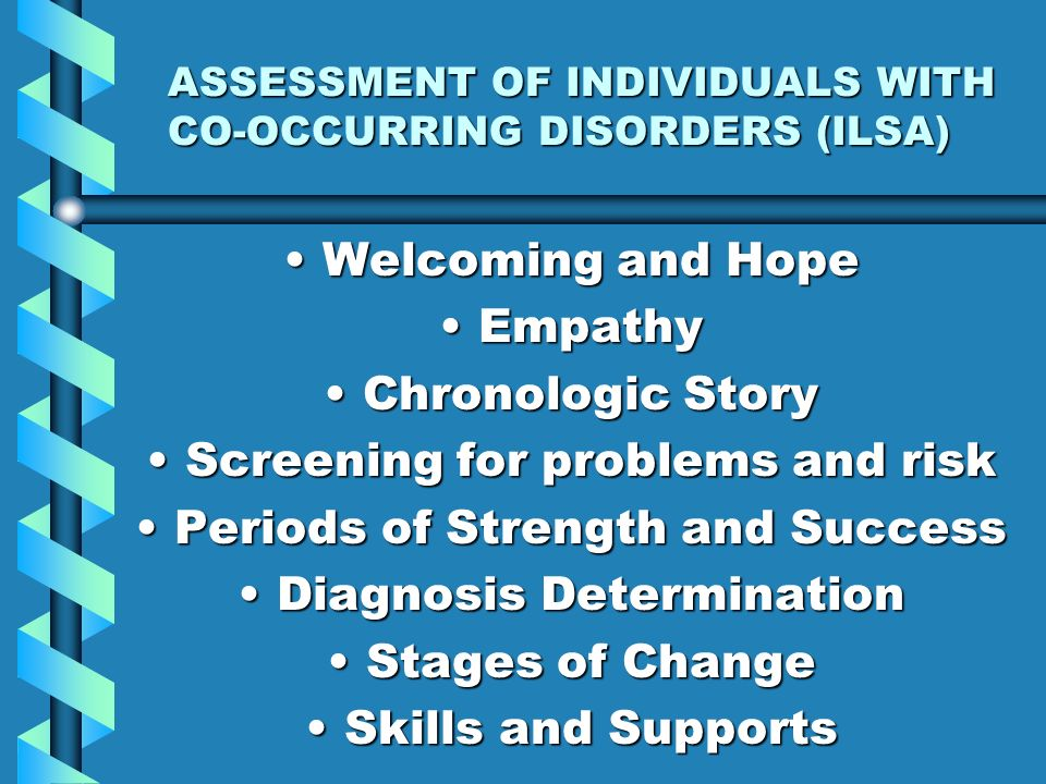 ASSESSMENT OF INDIVIDUALS WITH CO-OCCURRING DISORDERS (ILSA) Welcoming and HopeWelcoming and Hope EmpathyEmpathy Chronologic StoryChronologic Story Sc
