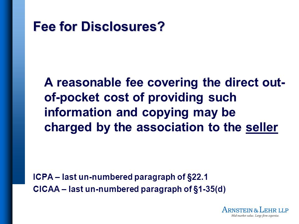 Fee for Disclosures.