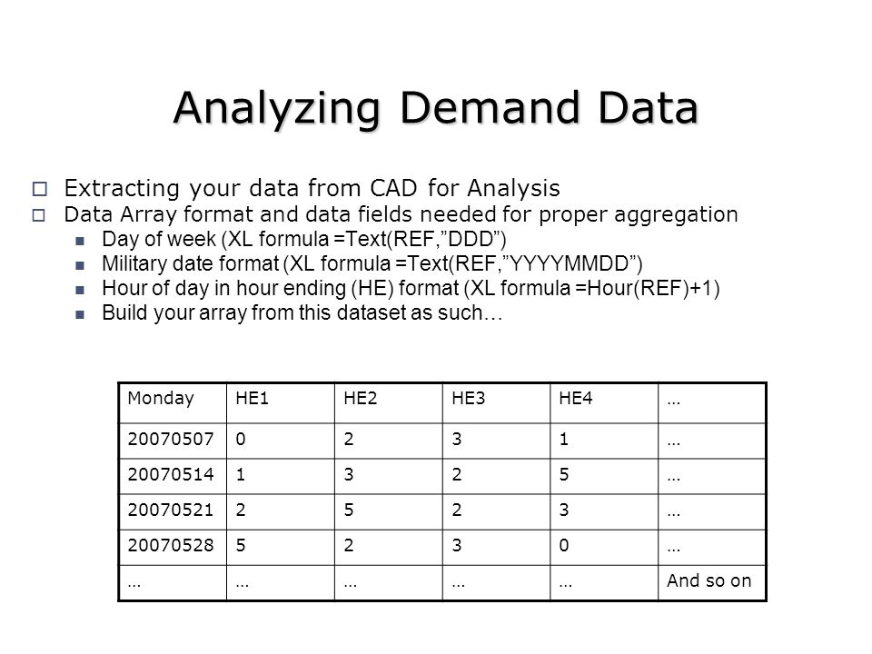 Extracting your data from CAD for Analysis Data Array format and data fields needed for proper aggregation Day of week (XL formula =Text(REF,DDD) Military date format (XL formula =Text(REF,YYYYMMDD) Hour of day in hour ending (HE) format (XL formula =Hour(REF)+1) Build your array from this dataset as such… MondayHE1HE2HE3HE4… 200705070231… 200705141325… 200705212523… 200705285230… ……………And so on