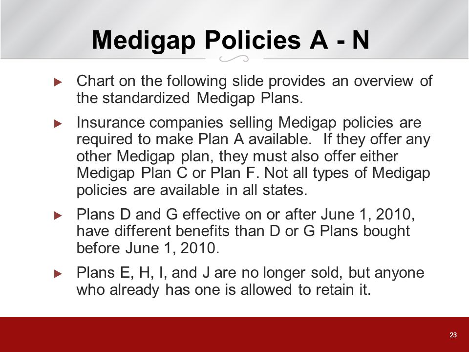 23 Medigap Policies A - N Chart on the following slide provides an overview of the standardized Medigap Plans. Insurance companies selling Medigap pol