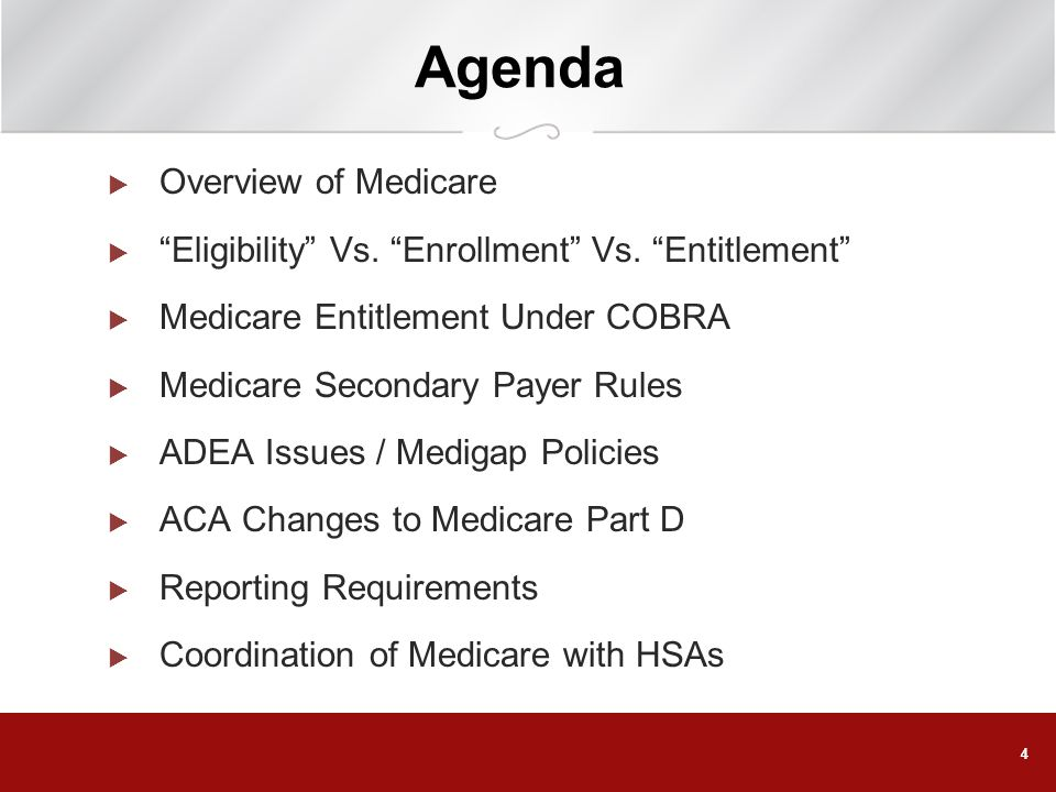 44 Agenda Overview of Medicare Eligibility Vs. Enrollment Vs. Entitlement Medicare Entitlement Under COBRA Medicare Secondary Payer Rules ADEA Issues