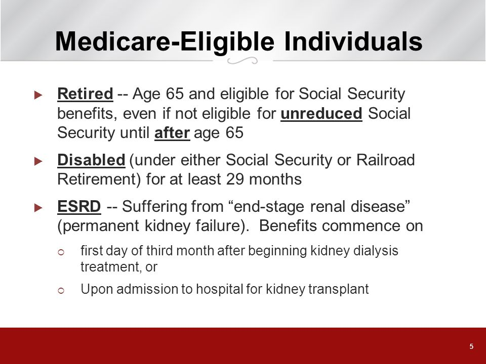 66 Medicare Components Part A = Hospitalization Includes limited coverage for nursing homes, home health services, and hospice care Generally no premium required if receiving (or entitled to receive) Social Security benefits Part B = Supplemental Insurance Includes coverage for physician services, diagnostic services, lab tests, and durable medical equipment Monthly premium required; generally deducted from Social Security benefit