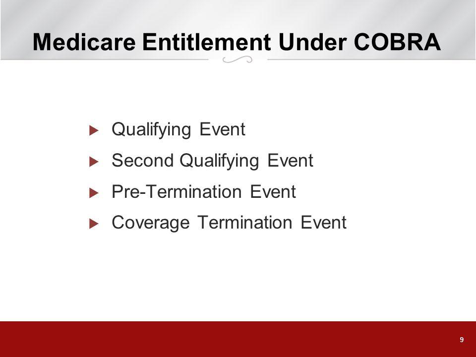 99 Medicare Entitlement Under COBRA Qualifying Event Second Qualifying Event Pre-Termination Event Coverage Termination Event