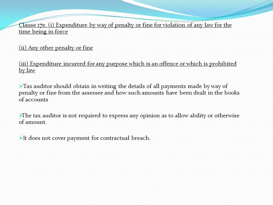 Clause 17e. (i) Expenditure by way of penalty or fine for violation of any law for the time being in force (ii) Any other penalty or fine (iii) Expend