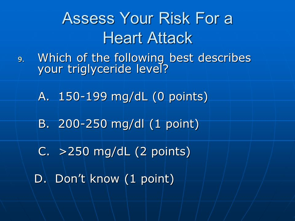 Assess Your Risk For a Heart Attack 9. Which of the following best describes your triglyceride level? A. 150-199 mg/dL (0 points) A. 150-199 mg/dL (0