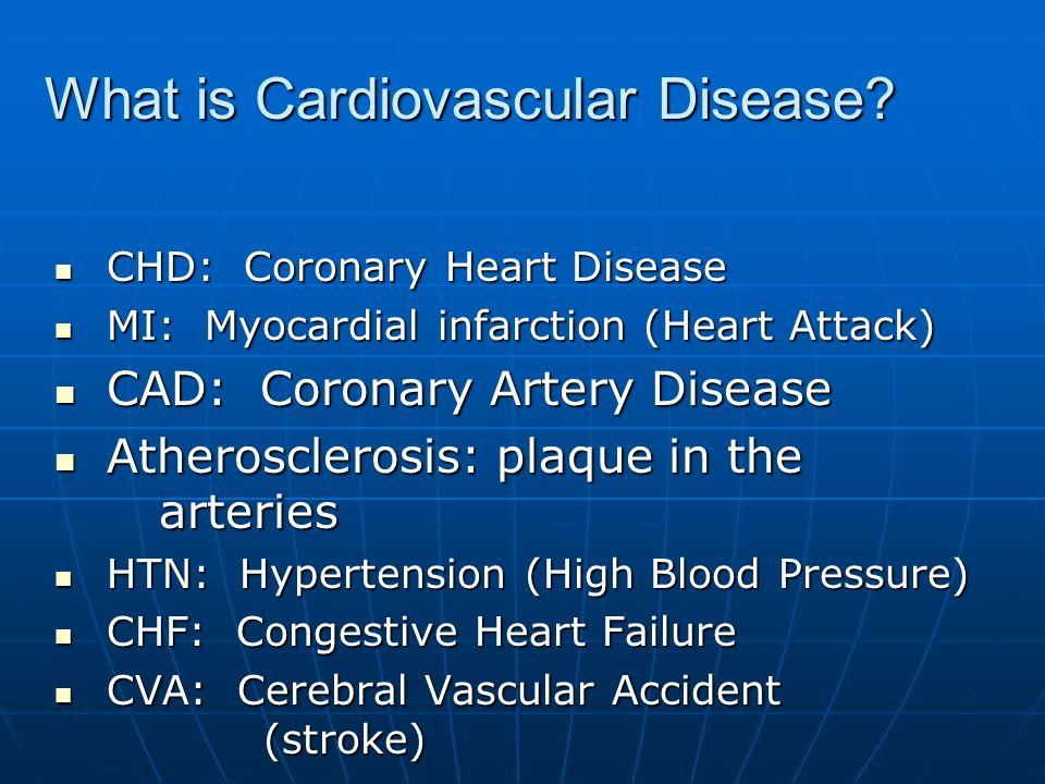 What is Cardiovascular Disease? CHD: Coronary Heart Disease CHD: Coronary Heart Disease MI: Myocardial infarction (Heart Attack) MI: Myocardial infarc
