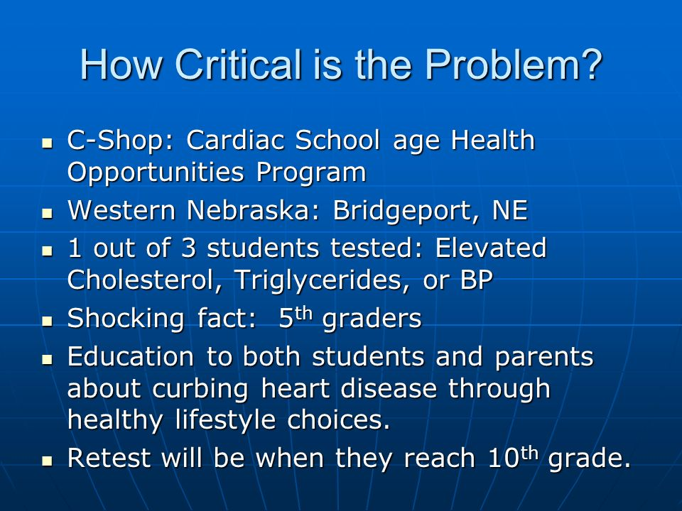 How Critical is the Problem? C-Shop: Cardiac School age Health Opportunities Program C-Shop: Cardiac School age Health Opportunities Program Western N