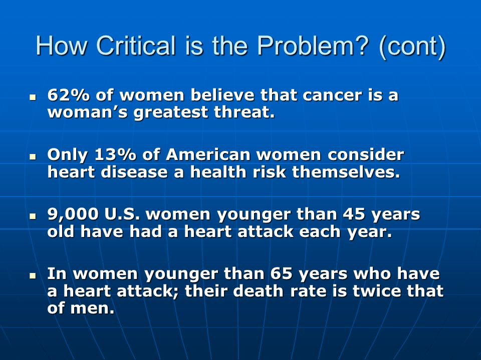 How Critical is the Problem? (cont) 62% of women believe that cancer is a womans greatest threat. 62% of women believe that cancer is a womans greates