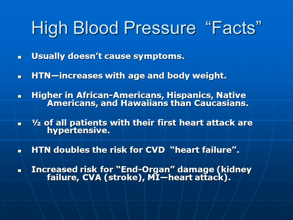 High Blood Pressure Facts Usually doesnt cause symptoms. Usually doesnt cause symptoms. HTNincreases with age and body weight. HTNincreases with age a