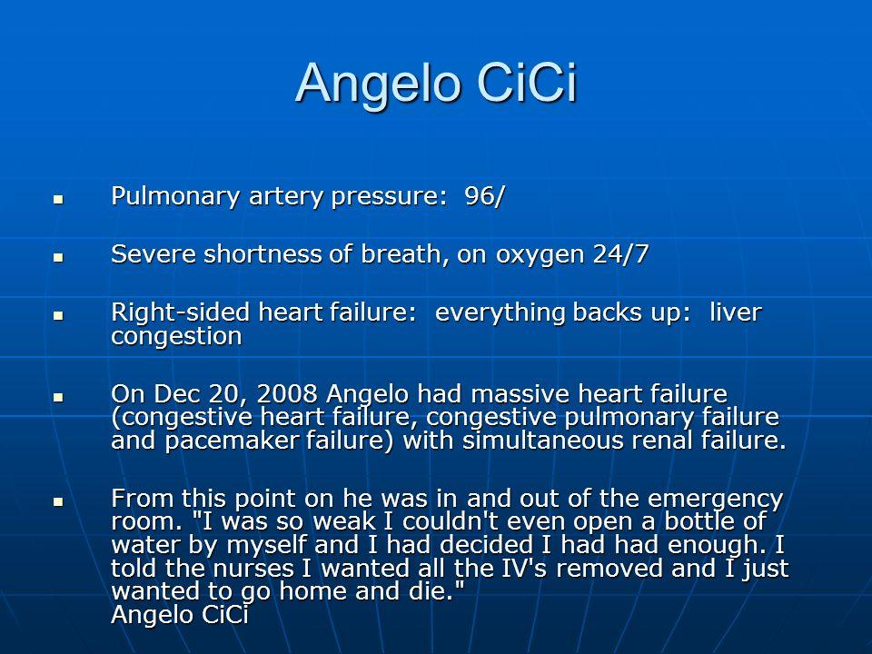 Angelo CiCi Pulmonary artery pressure: 96/ Pulmonary artery pressure: 96/ Severe shortness of breath, on oxygen 24/7 Severe shortness of breath, on ox