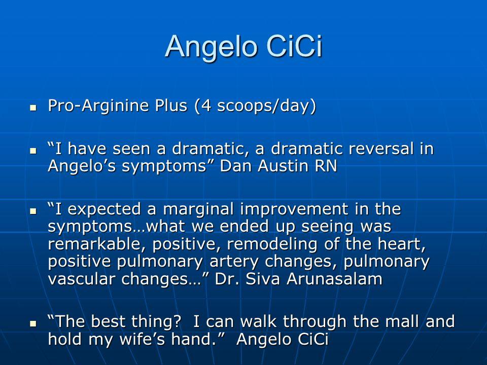 Angelo CiCi Pro-Arginine Plus (4 scoops/day) Pro-Arginine Plus (4 scoops/day) I have seen a dramatic, a dramatic reversal in Angelos symptoms Dan Aust