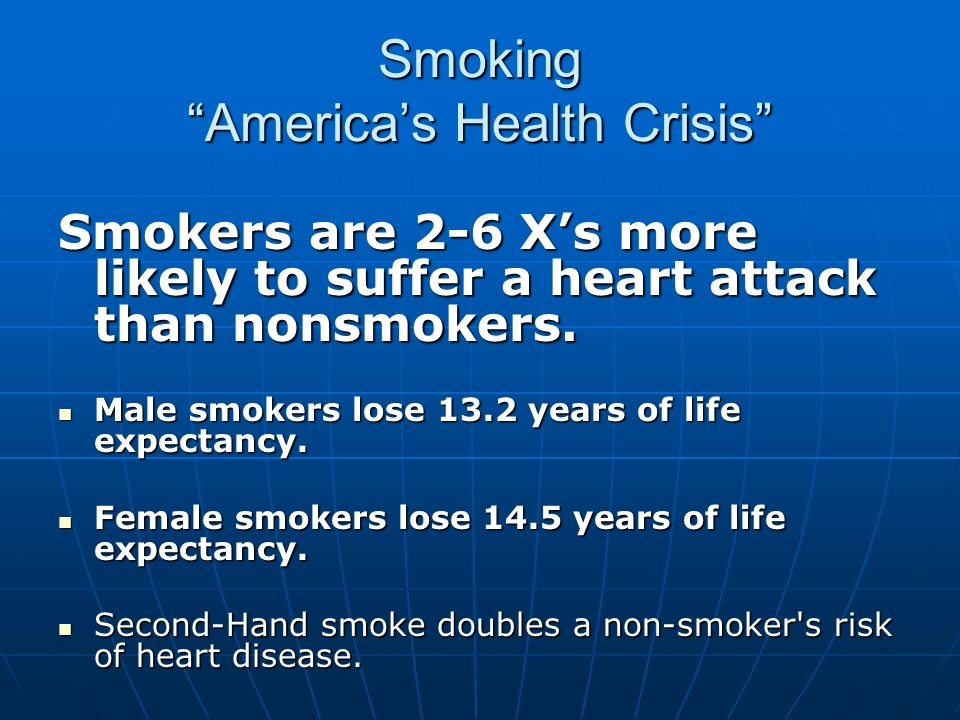Smoking Americas Health Crisis Smokers are 2-6 Xs more likely to suffer a heart attack than nonsmokers. Male smokers lose 13.2 years of life expectanc