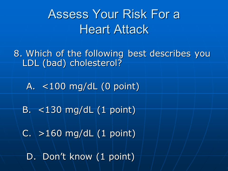 Assess Your Risk For a Heart Attack 8. Which of the following best describes you LDL (bad) cholesterol? A. <100 mg/dL (0 point) A. <100 mg/dL (0 point