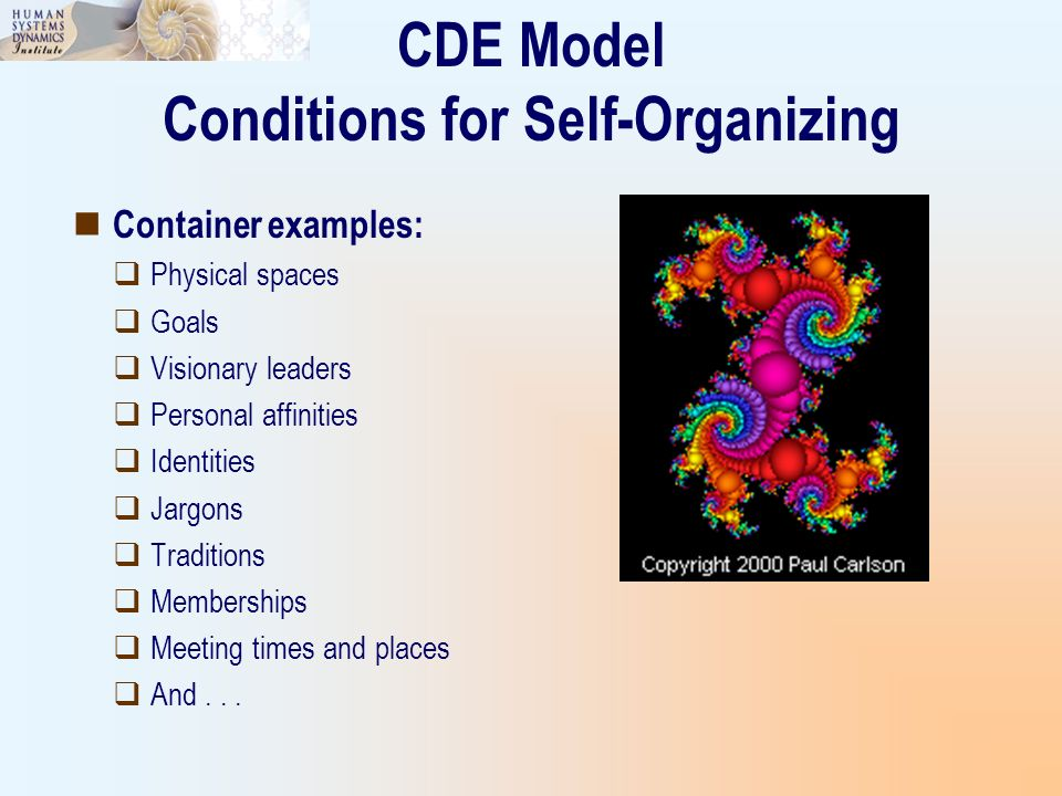 CDE Model Conditions for Self-Organizing Container examples: Physical spaces Goals Visionary leaders Personal affinities Identities Jargons Traditions