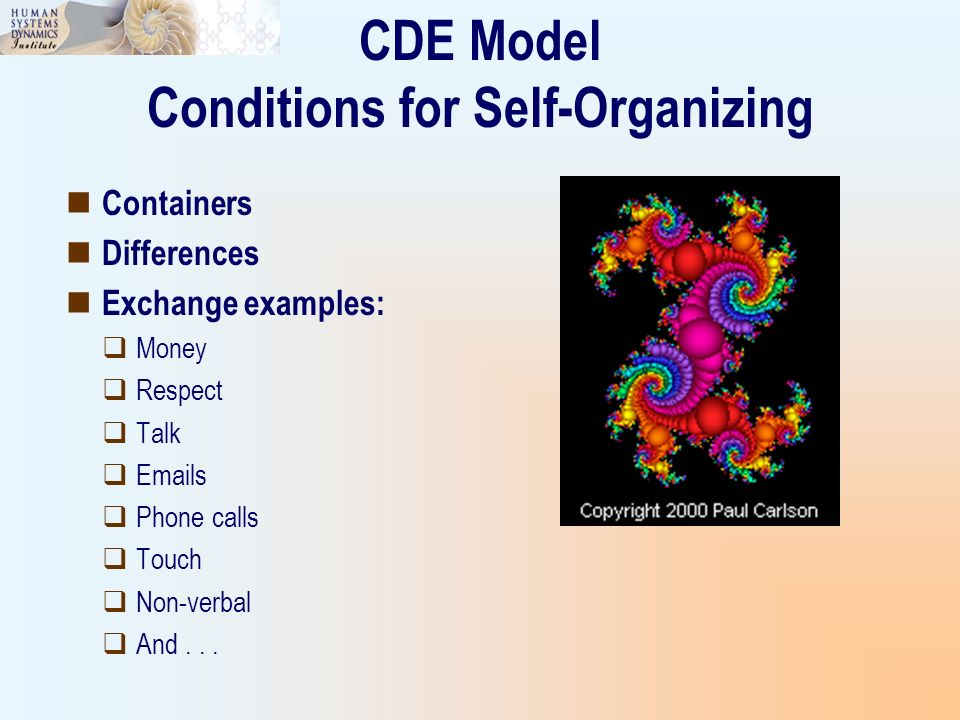 Containers Differences Exchange examples: Money Respect Talk Emails Phone calls Touch Non-verbal And... CDE Model Conditions for Self-Organizing