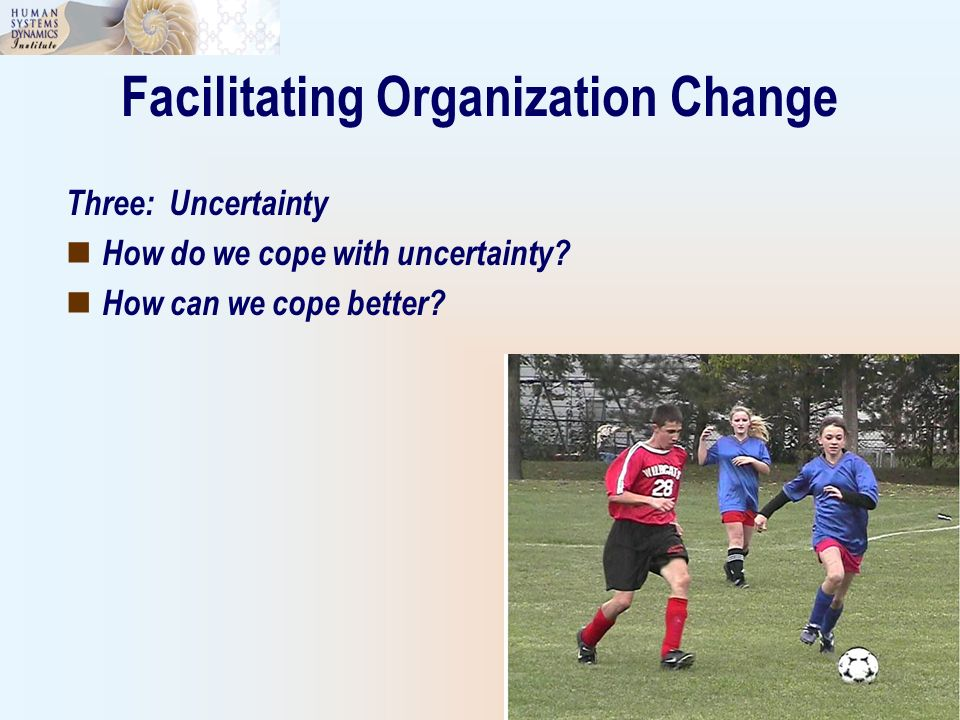 Facilitating Organization Change Three: Uncertainty How do we cope with uncertainty? How can we cope better?