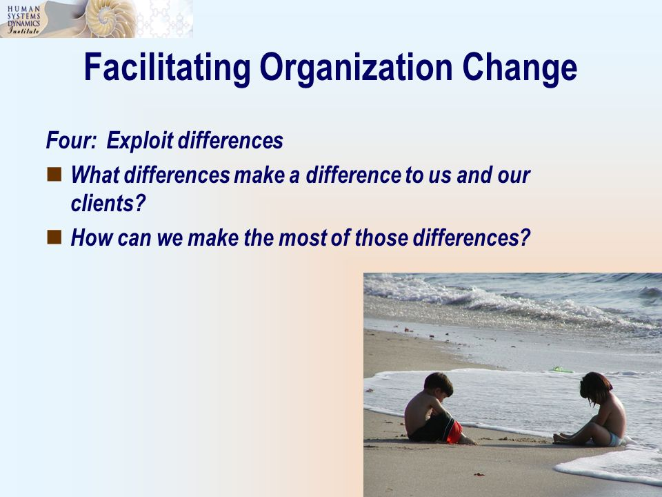 Facilitating Organization Change Four: Exploit differences What differences make a difference to us and our clients? How can we make the most of those