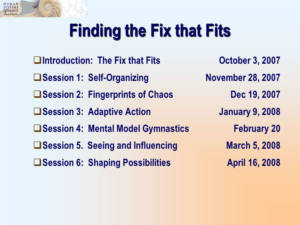 Finding the Fix that Fits Introduction: The Fix that FitsOctober 3, 2007 Session 1: Self-OrganizingNovember 28, 2007 Session 2: Fingerprints of ChaosD