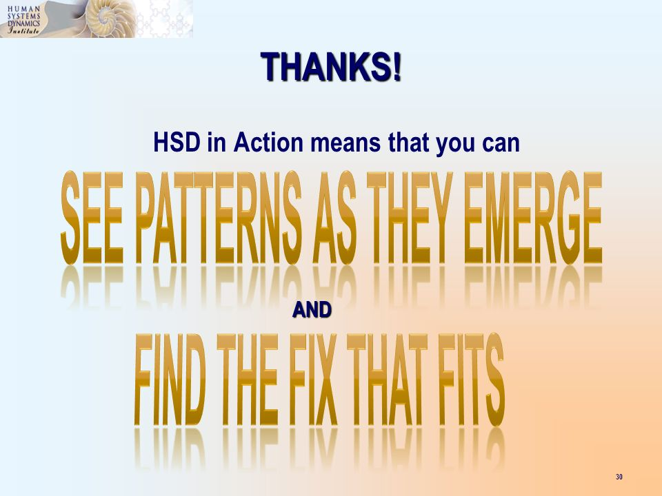 30 THANKS! HSD in Action means that you can AND