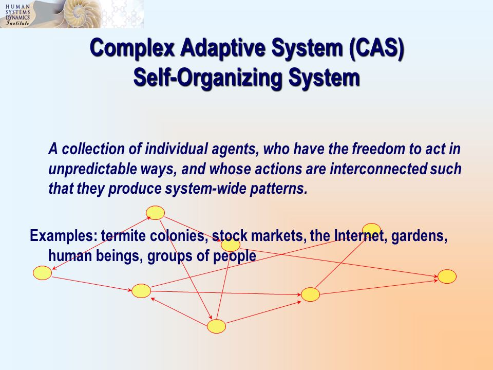 Complex Adaptive System (CAS) Self-Organizing System A collection of individual agents, who have the freedom to act in unpredictable ways, and whose a