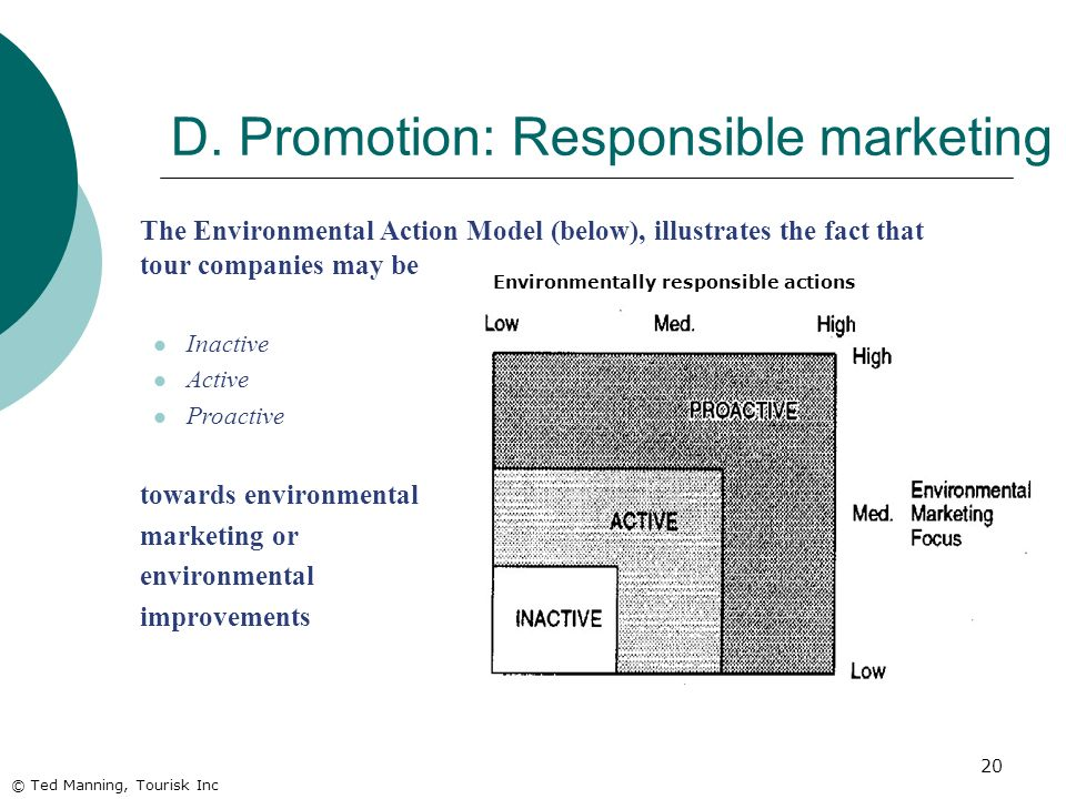 20 The Environmental Action Model (below), illustrates the fact that tour companies may be Inactive Active Proactive towards environmental marketing or environmental improvements © Ted Manning, Tourisk Inc D.
