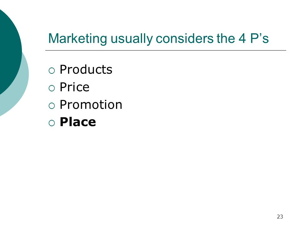 23 Marketing usually considers the 4 Ps Products Price Promotion Place