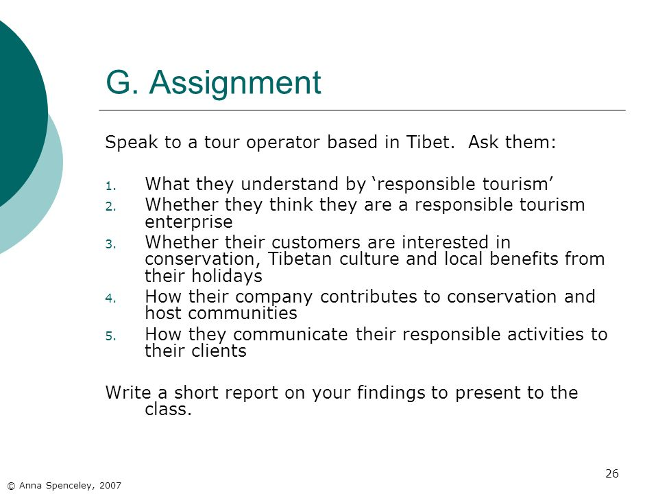 26 G. Assignment Speak to a tour operator based in Tibet.